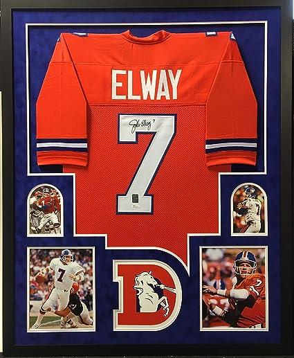 27be109ef5b Image Unavailable. Image not available for. Color: John Elway Denver  Broncos Autograph Signed Custom Framed Jersey ...