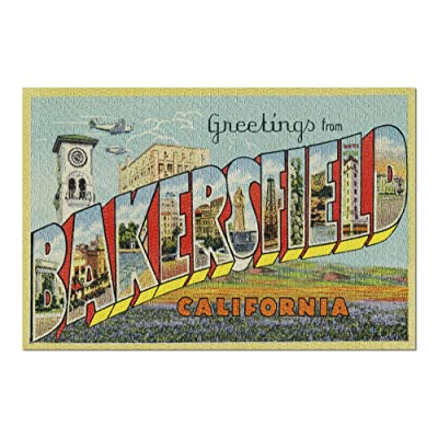 Greetings from Bakersfield, California - Vintage Halftone (Premium 1000 Piece Jigsaw Puzzle for Adults, 20x30, Made in USA!): Toys & Games