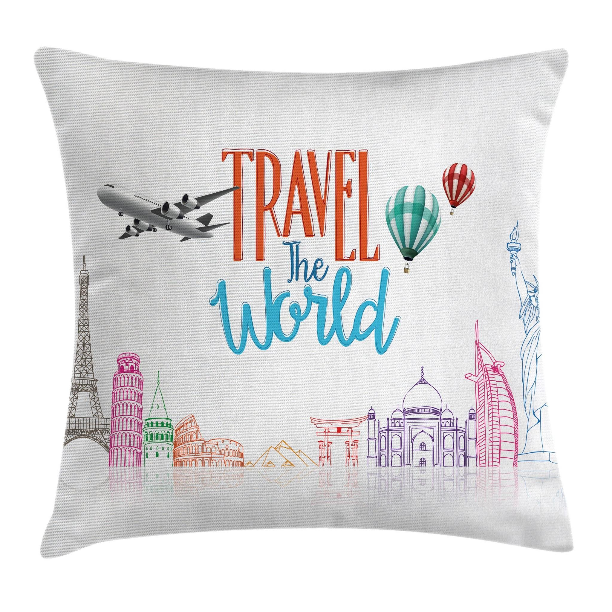 Ambesonne Quote Decor Throw Pillow Cushion Cover, Travel The World Lettering with Around World Landmarks Balloons Artwork Image, Decorative Square Accent Pillow Case, 18 X18 Inches, Multicolor