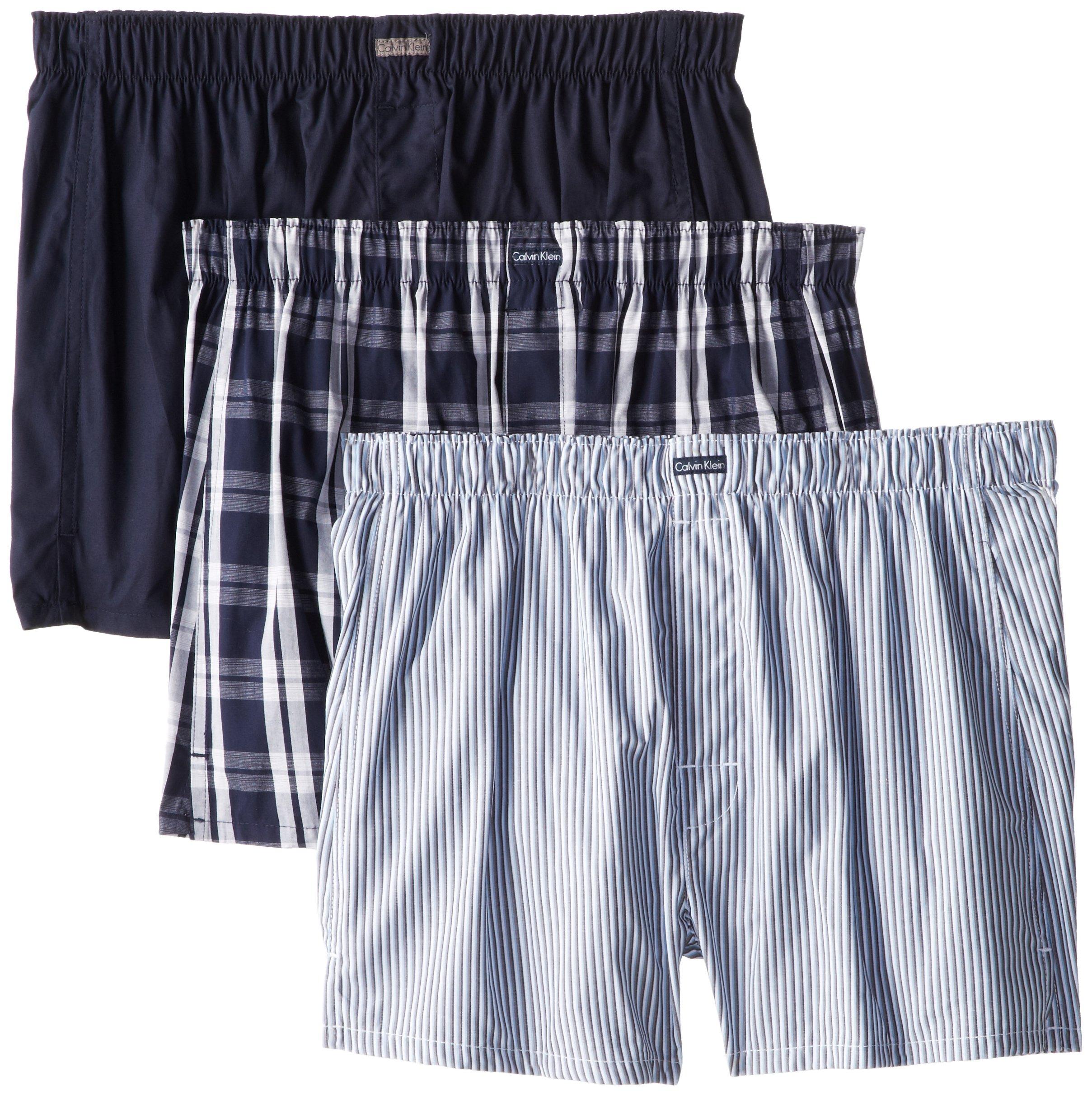 Calvin Klein Men's Underwear 3 Pack Cotton Classic Woven Boxers, Montague Stripe/Tide/Morgan Plaid, Medium