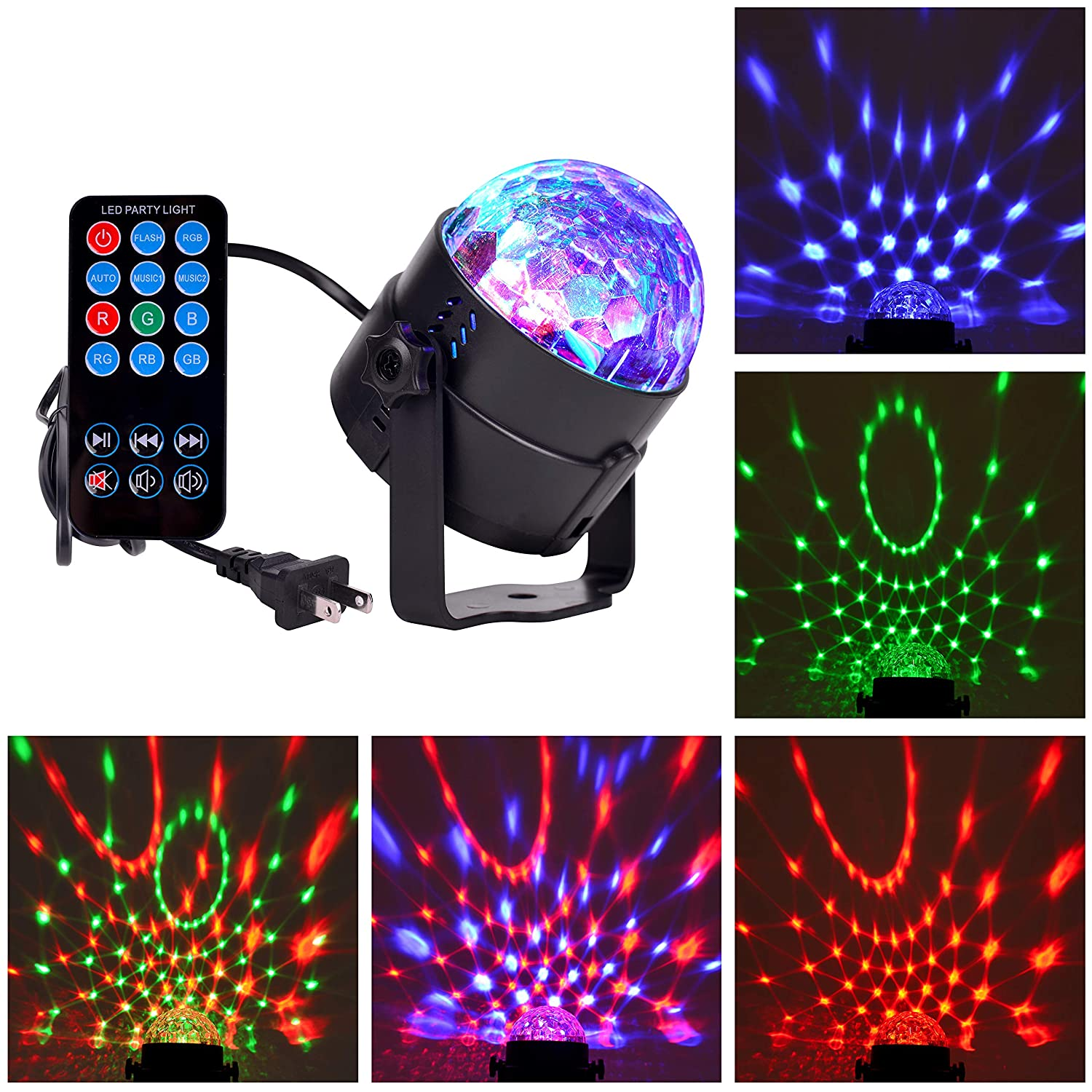 Lezoey Sound Activated Strobe Party Lights with Remote Control RGB Disco Dance Ball Light LED Stage Lamp for Birthday DJ Kids Xmas Club Karaoke Wedding