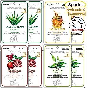 Vitamin C Serum Sheet Mask Natural Collagen Essence Facial Mask MEAROSA Anti-aging Repairing Sun Damaged Skin Korean Skin Care Premium Quality Daily Routine(8 Sheets Variety pack)
