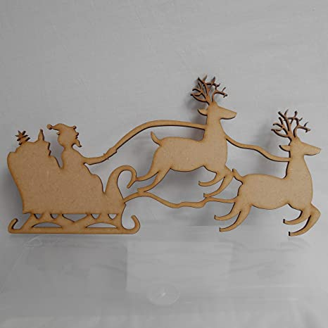 Santa on Sleigh with Reindeer x 10 Wood Craft Shapes15cm wide