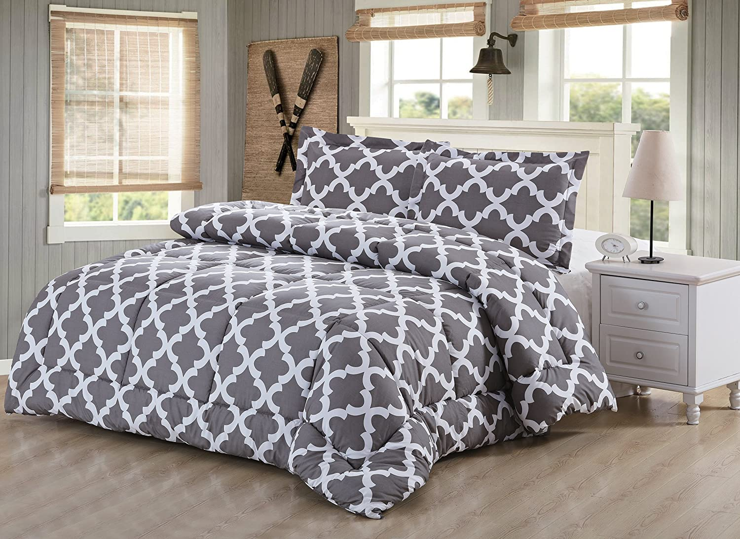 Printed Comforter Set (Grey, Twin) with 2 Pillow Sham - Luxurious Soft Brushed Microfiber - Goose Down Alternative Comforter