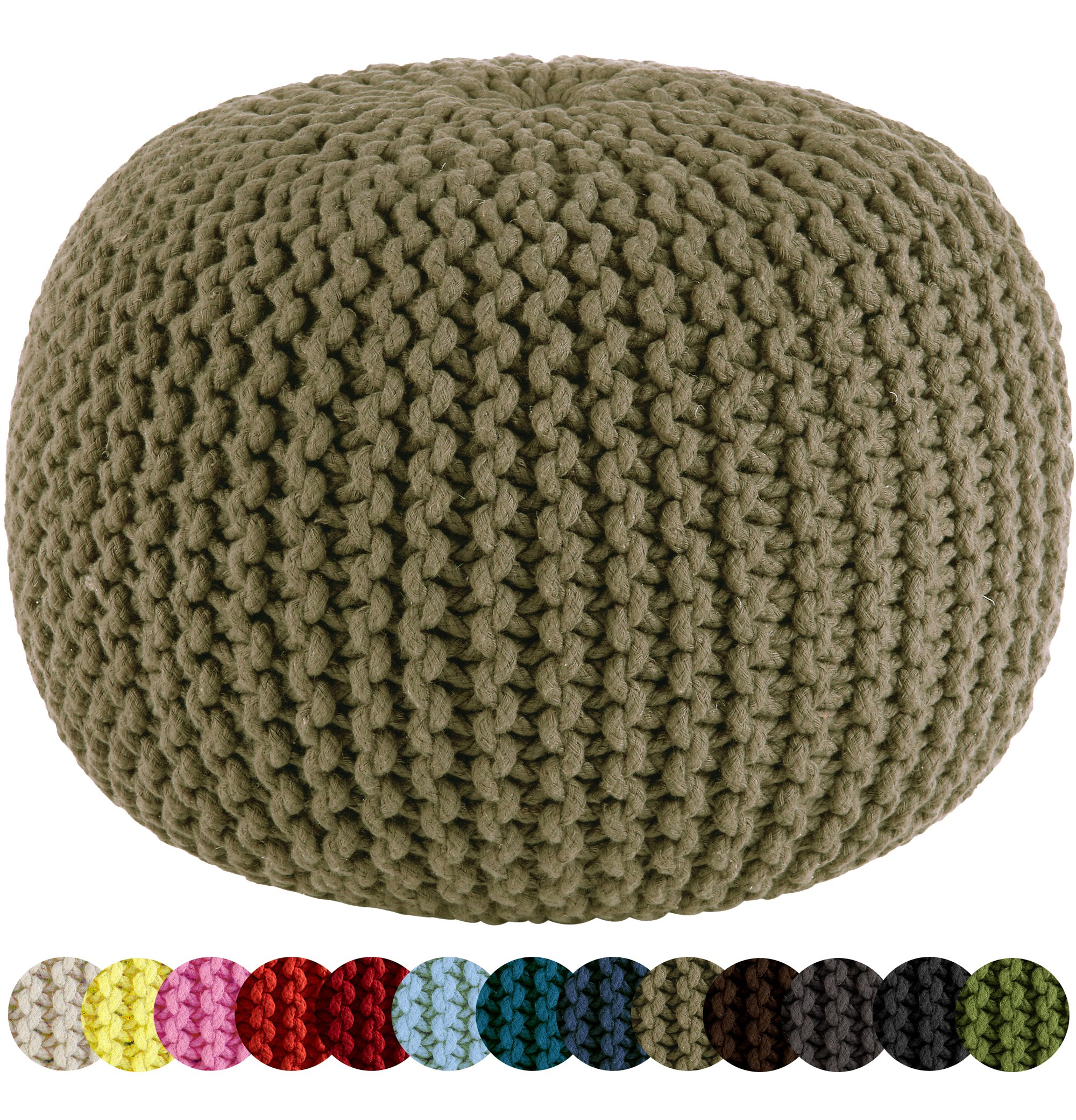 Cotton Craft - Hand Knitted Cable Style Dori Pouf - Beige - Floor Ottoman - 100% Cotton Braid Cord - Handmade & Hand stitched - Truly one of a kind seating - 20 Dia x 14 High