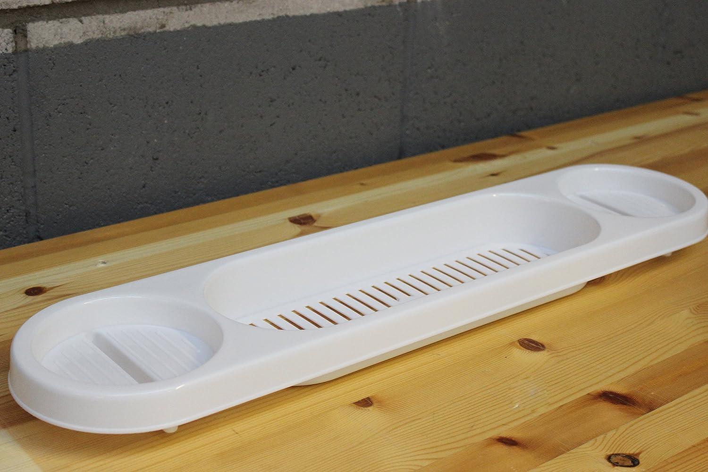 WHITE BATH RACK OVER BATH SHOWER CADDY RACK SOAP HOLDER TRAY BATH ...