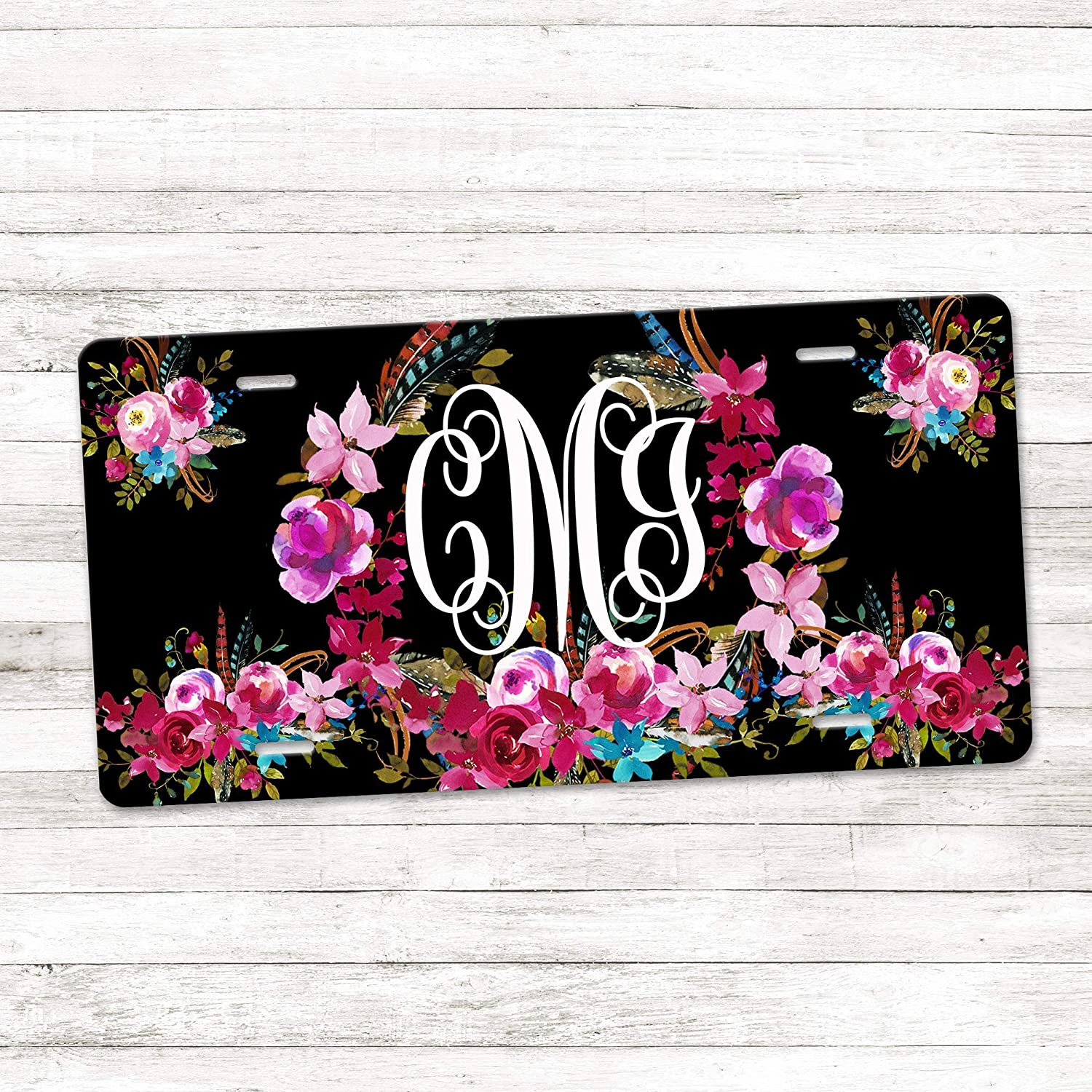 Amazon Com Personalized Monogram License Plate Boho Floral Wreath