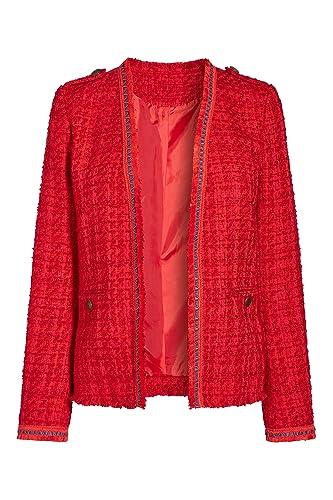 next Mujer Chaqueta Abierta Sin Cierre Tweed Con Textura Con Ribete De Piel Sintética