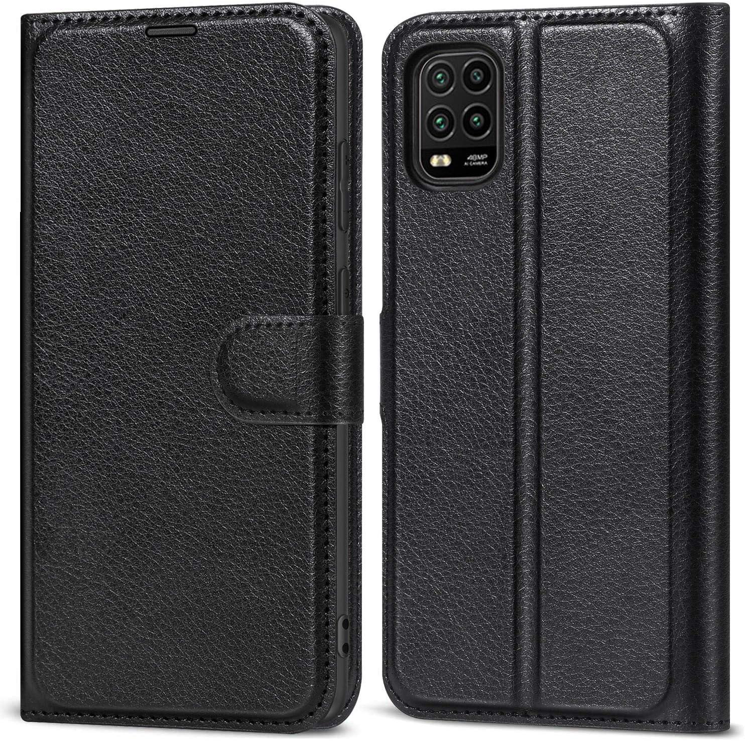 YoTEer Funda para Xiaomi Mi 10 Lite 5G, PU Premium Cuero Flip Folio Carcasa, Soporte Plegable, Ranuras para Tarjetas, Cierre Magnético Funda Libro para Xiaomi Mi 10 Lite 5G. (Negro)