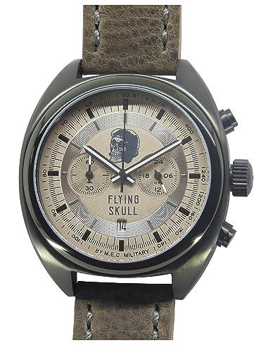 Reloj Vintage para hombre reloj cronógrafo cuarzo Calavera Militar Buceo mec acero: Amazon.es: Relojes