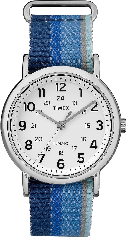 Timex Unisex TW2R10200 Weekender Blue Striped Denim Slip-Thru Strap Watch