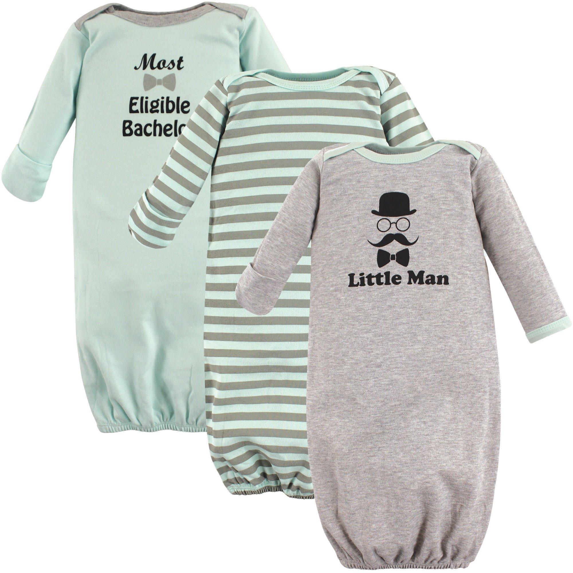 Luvable Friends Cotton Gowns, 3 Pack,Little Man, 0-6 Months