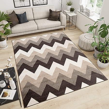Tapiso Maroko Tapis de Salon Chambre Design Moderne Marron Beige  Géométrique Zigzags Doux Fin Poil Court 120 x 170 cm