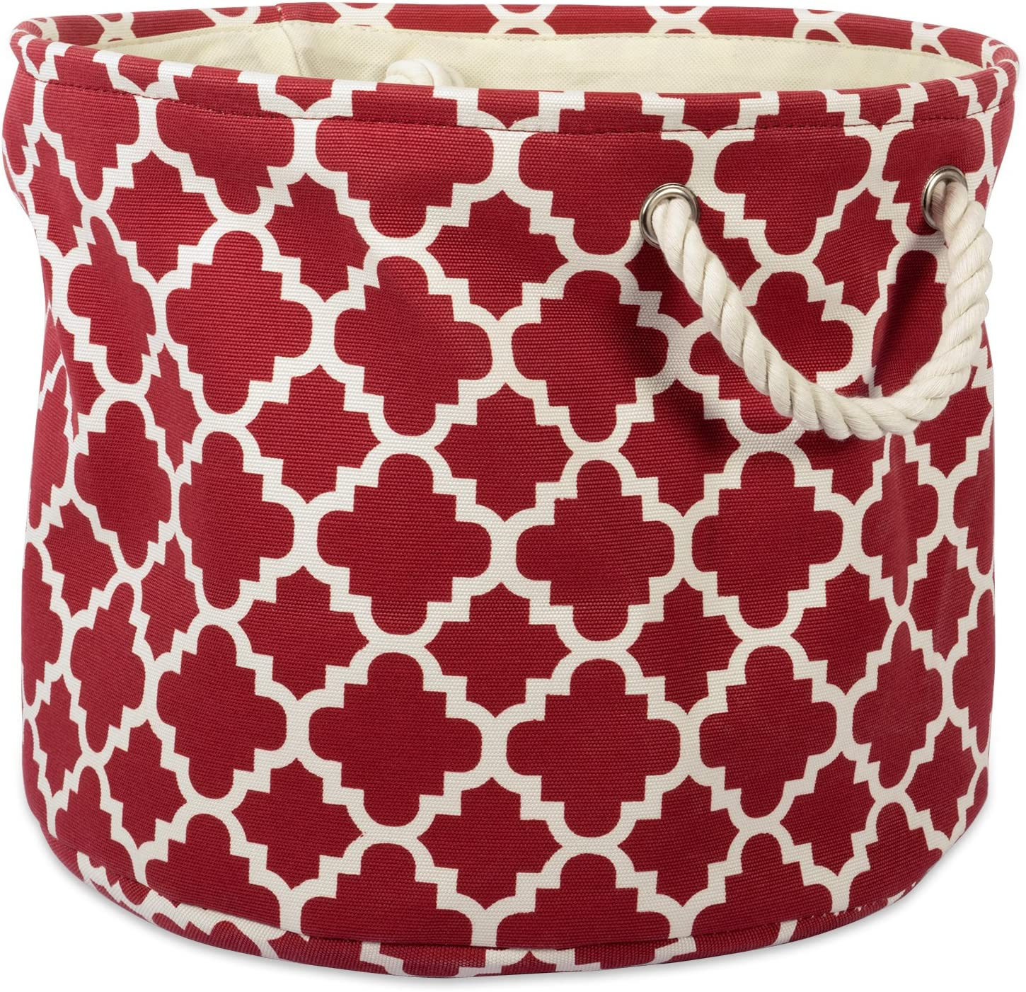 DII CAMZ37889Printed Polyester, Collapsible and Convenient Storage Bin To Organize Office, Bedroom, Closet, Kid's Toys, Laundry  -Medium Round, Rust Lattice