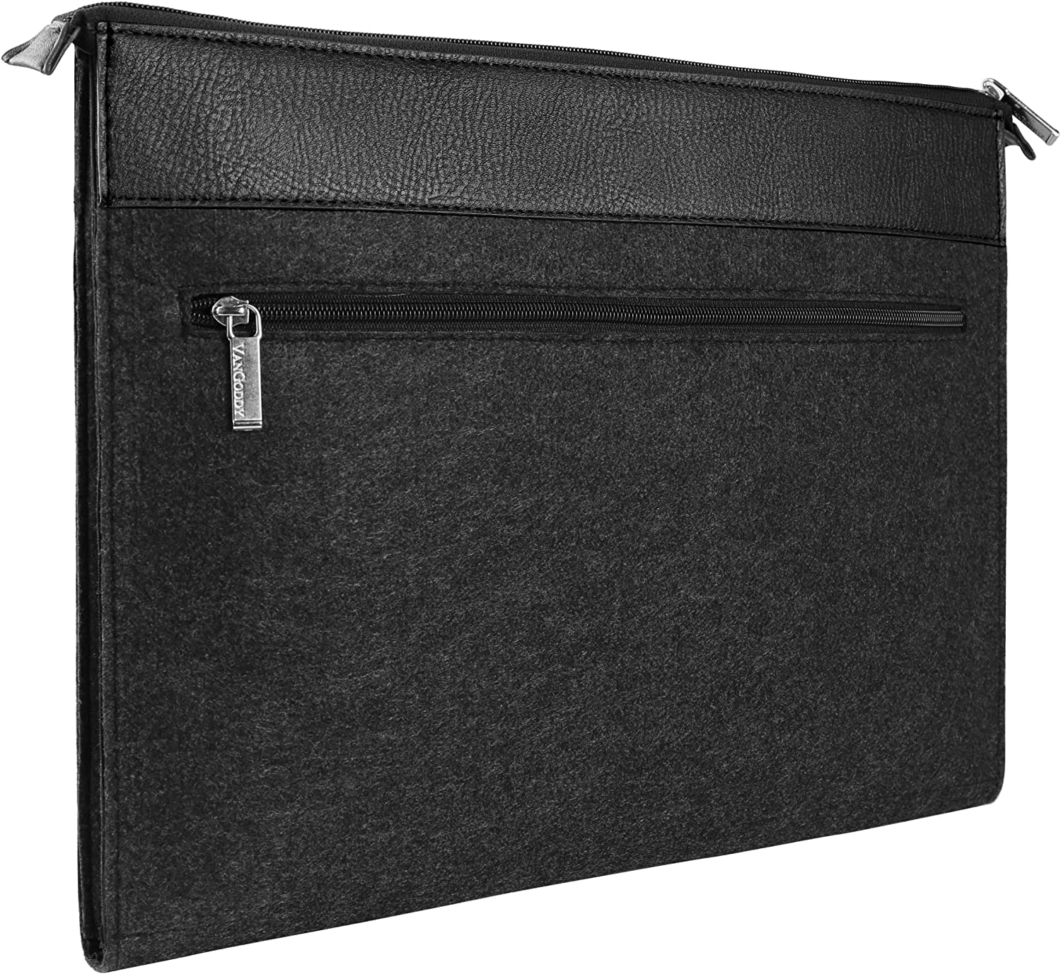 Vangoddy 17 Inch Exo Woolen Felt Compact Slim Carrying Sleeve Case Black Trim for HP Envy 15 Omen 15 Pavilion 15 Series 15.6 inch Laptop with Sync and Charge Cable