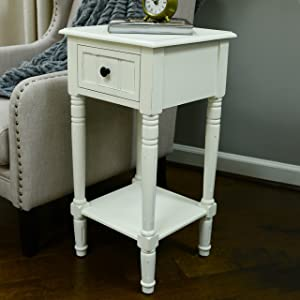 Décor Therapy FR1475 Simplify Accent Table with Drawer, Antique White