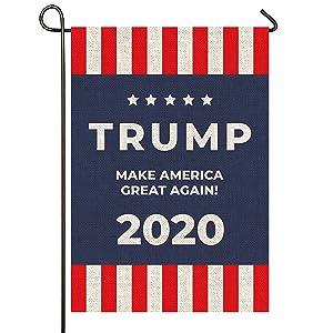 "Mogarden Trump 2020 Flag, Double Sided Garden Flag, 12.5"" x 18"", Premium Burlap"