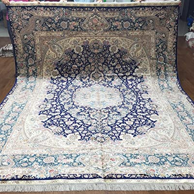 Yuchen New 8'x10' Blue Oriental Handmade Area Carpets Hand Knotted Silk Persian Rugs