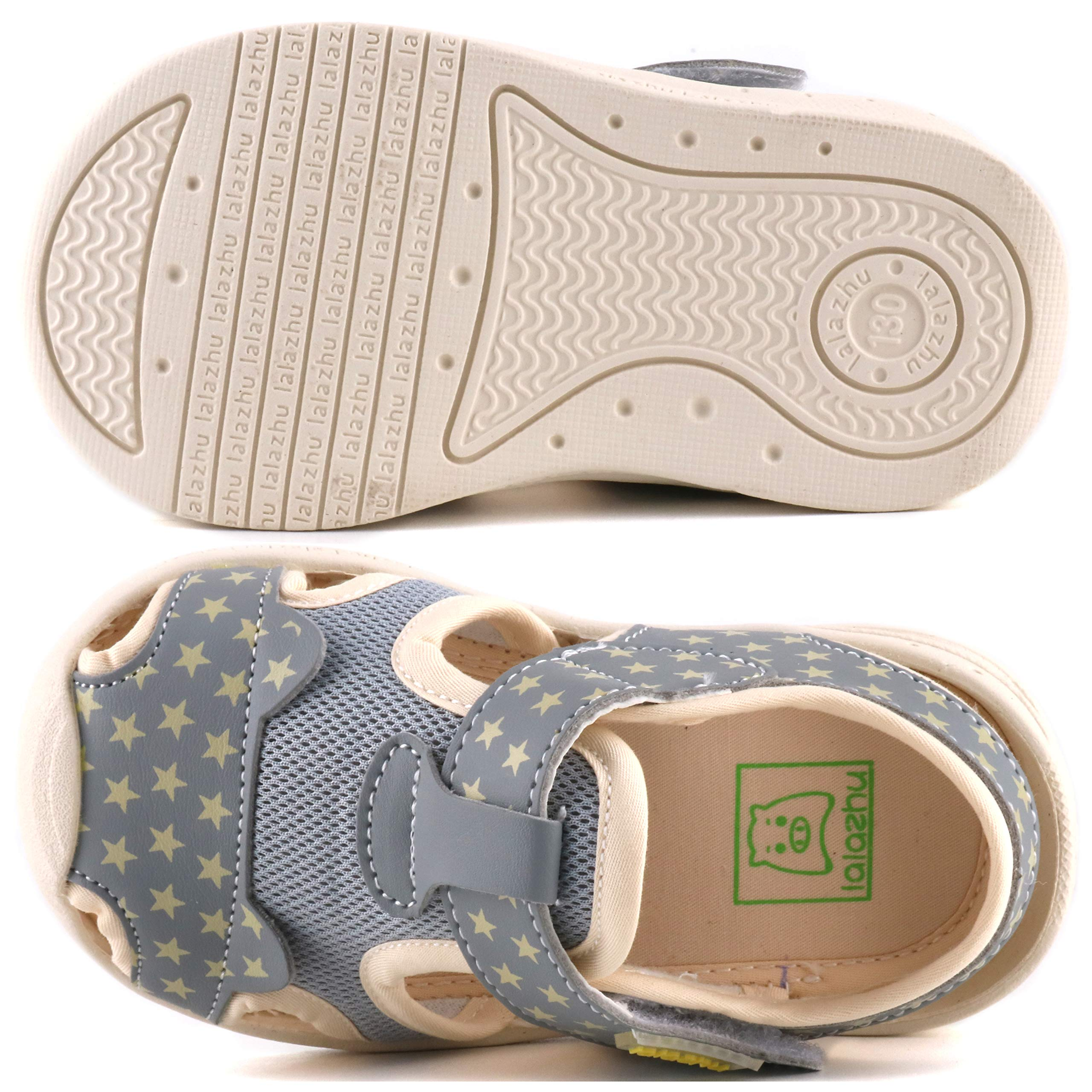 Moceen Kids Soft Microfiber Leather Sandals Light-Up Toddler Boys/Girls Closed Toe Pre School Shoes,Grey,8102 115 by Moceen (Image #3)