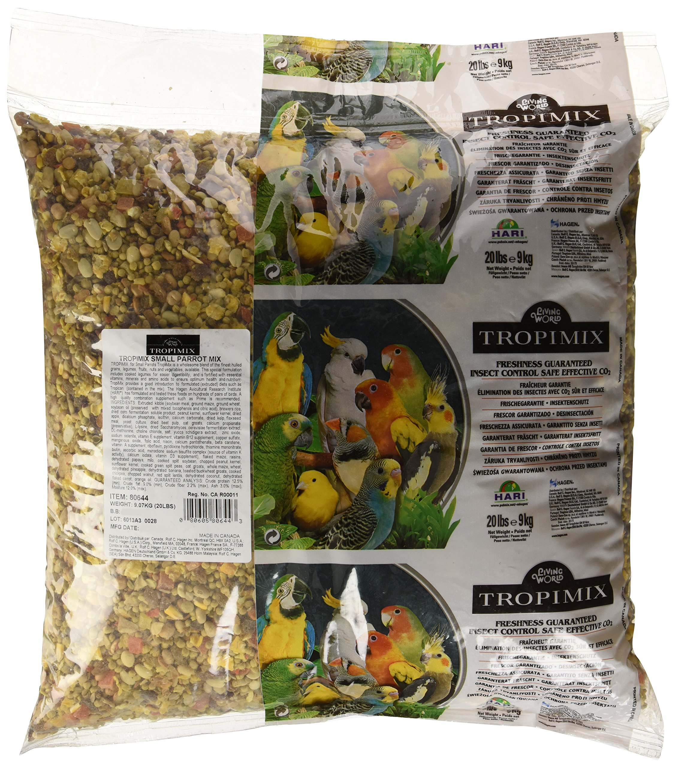 Tropimix Small Parrot Food, Healthy Blend of Grains, Legumes, Fruits, Nuts and Vegetables, 20 lb Bag by Hari
