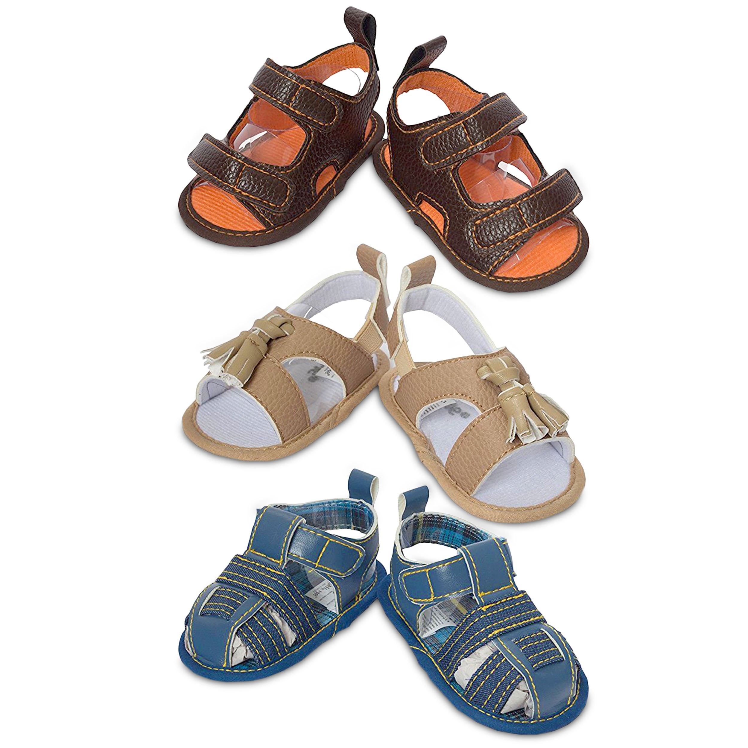 08c182f53b647 3 Pack Baby Infant & Newborn Boys Sandals- Soft Sole Baby Prewalker ...