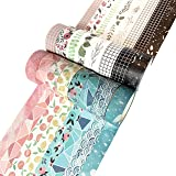 Washi Tape Set, 16 Rolls of 15 mm Wide, Cute Decorative Colored Tape for Scrapbooking, Bullet Journals, Planners, DIY…