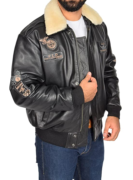 Mens Real Leather Bomber Aviator Top Gun Air Force Style Jacket Pilot-N Black at Amazon Mens Clothing store:
