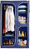 Amazon Brand - Solimo 2-Door Foldable Wardrobe, 6 Racks, Navy Blue