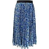 Charis Allure Women's A-Line Pleated Stripe Print Midi Skirt, Blue