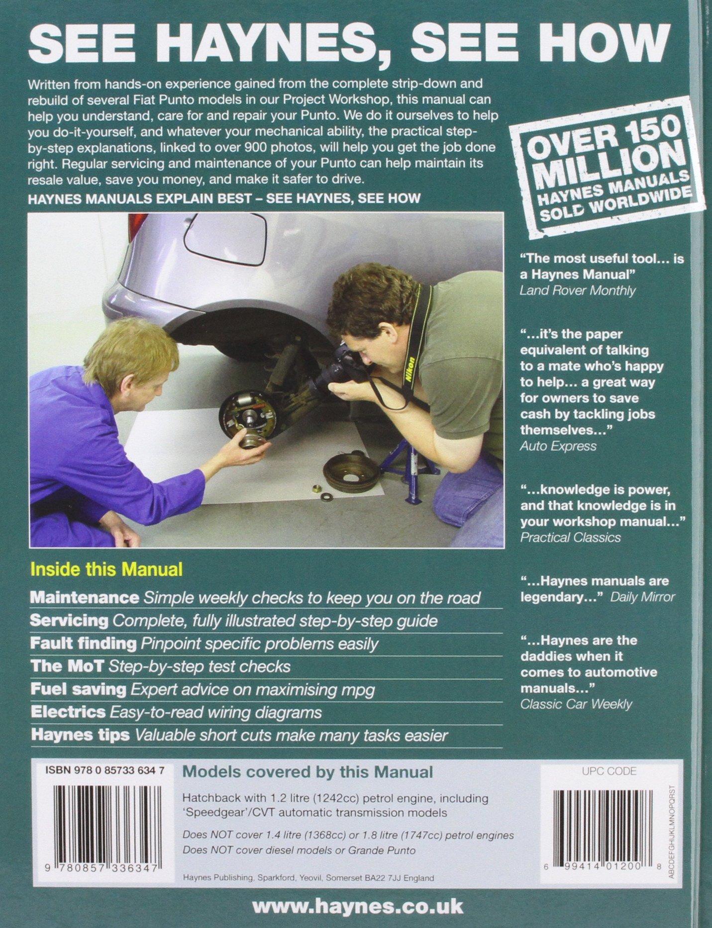 Fiat Punto petrol (Oct 99 - 07) Haynes Repair Manual (Haynes Service and Repair  Manuals): Amazon.co.uk: Anon: 9780857336347: Books