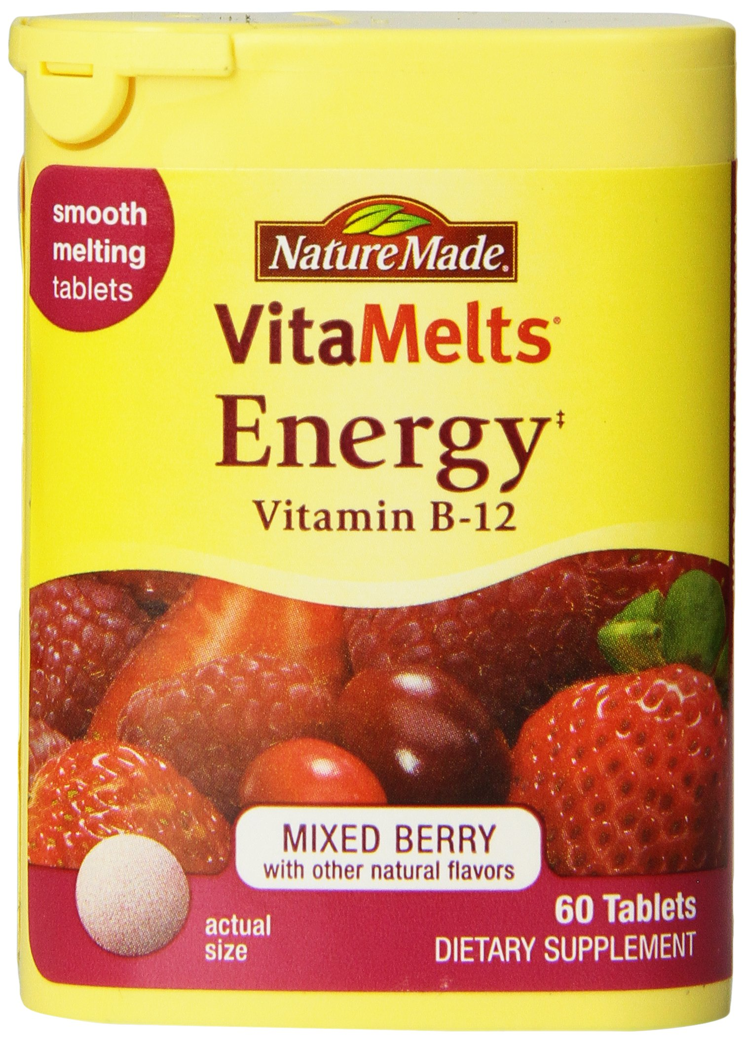 Nature Made Vitamelts 1500 Mcg Smooth Dissolve Tablet, Vitamin B-12, 60 Count