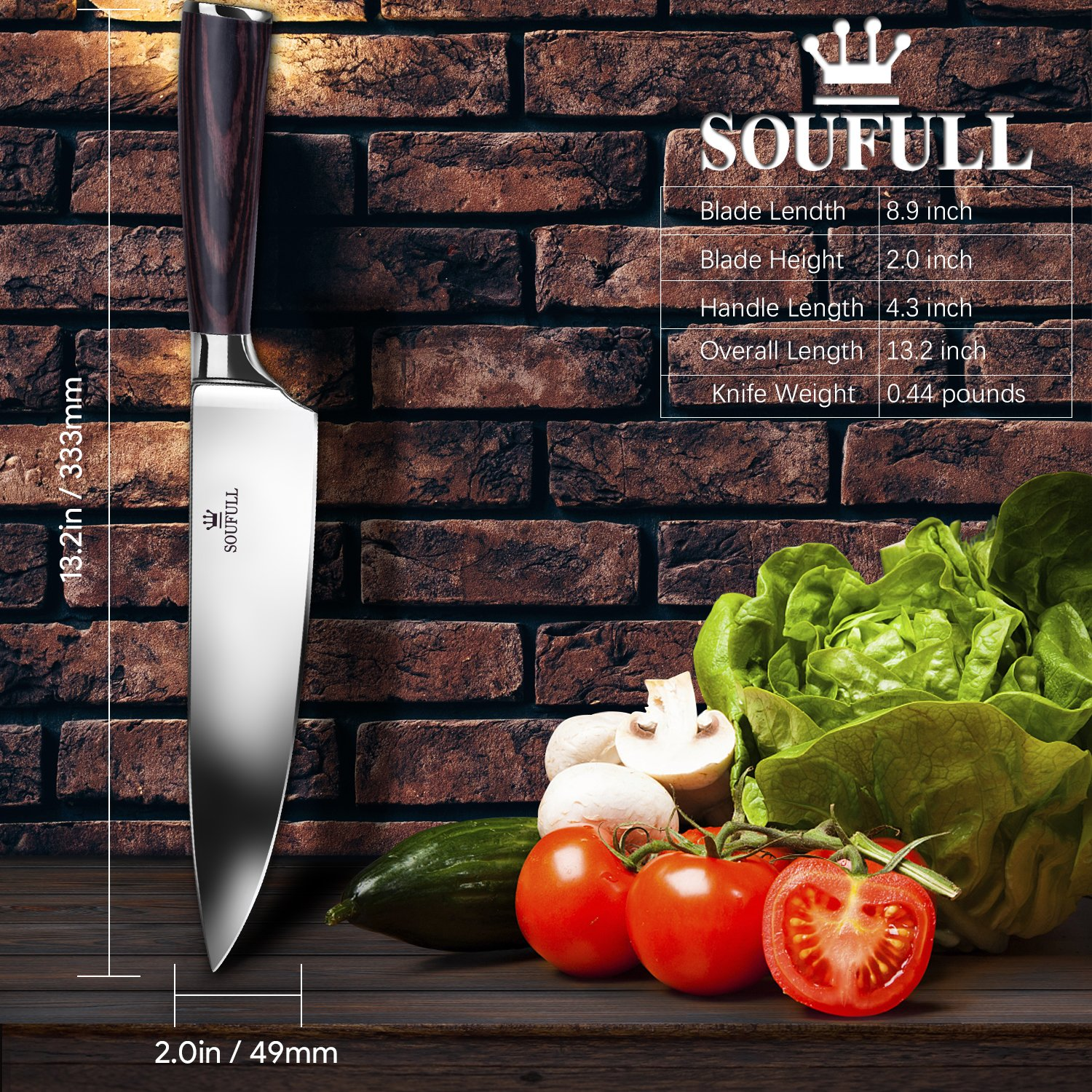 Professional Chef Knife, Soufull 8 inch Stainless Steel Kitchen Knife-Razor Sharp Durable Blade,Well Balanced Ergonomic Pakka Wood Handle,Multipurpose Top Chef's Knife with Gift Box by Soufull (Image #4)