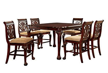 Furniture Of America Bonaventure 7 Piece Traditional Style Pub Dining Set