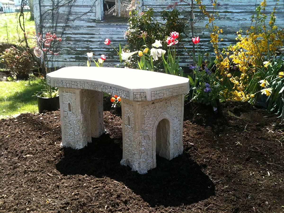 Cast Stone Roman Curve Castle Rock Bench 3 Piece Hand Sculpted Rustice Garden Decor