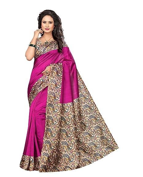 68e9c064fefeee Winza Designer Silk Saree With Blouse Piece (KALAMKARI-K50 Beautiful  Pink Free Size)