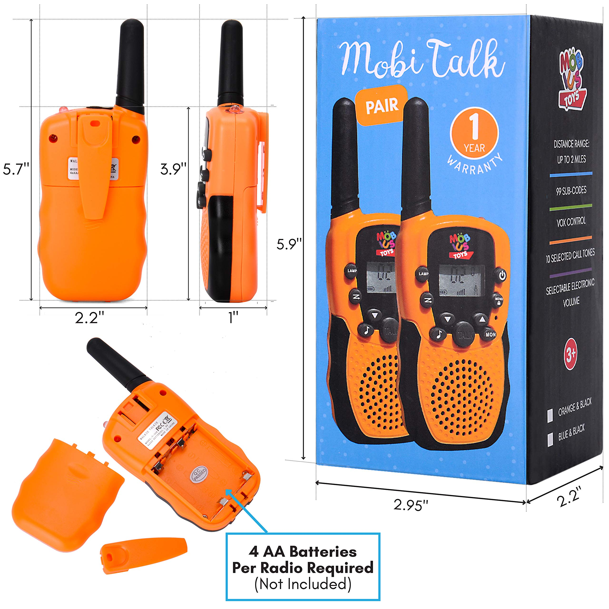 Walkie Talkies for Kids - (Vox Box) Voice Activated Walkie Talkies Toy for Kids, Two Way Radios Pair for Boys & Girls, Limited Edition Color Best Gift Long Range 3+ Miles Children's Walkie Talkie Set by MOBIUS Toys (Image #6)