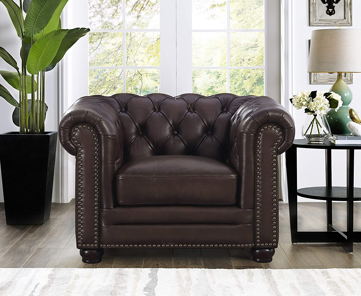 Brown Hydeline Aliso 100/% Leather Sectional Sofa 3-Piece