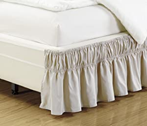 Mk Collection Wrap Around Style Easy Fit Elastic Bed Ruffles Bed-Skirt Queen-King Solid Beige New