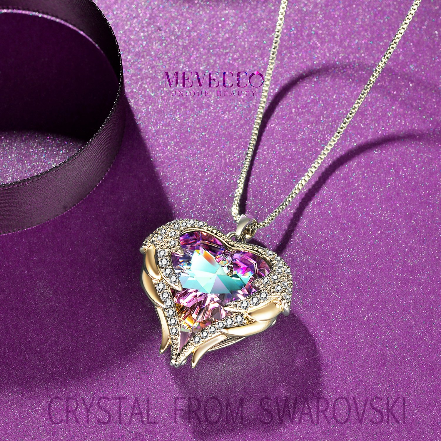 Mevecco ''Heart Of the Ocean'' Heart Pendant Necklace Made with Swarovski Crystals-NK10-Vol Light by Mevecco (Image #5)