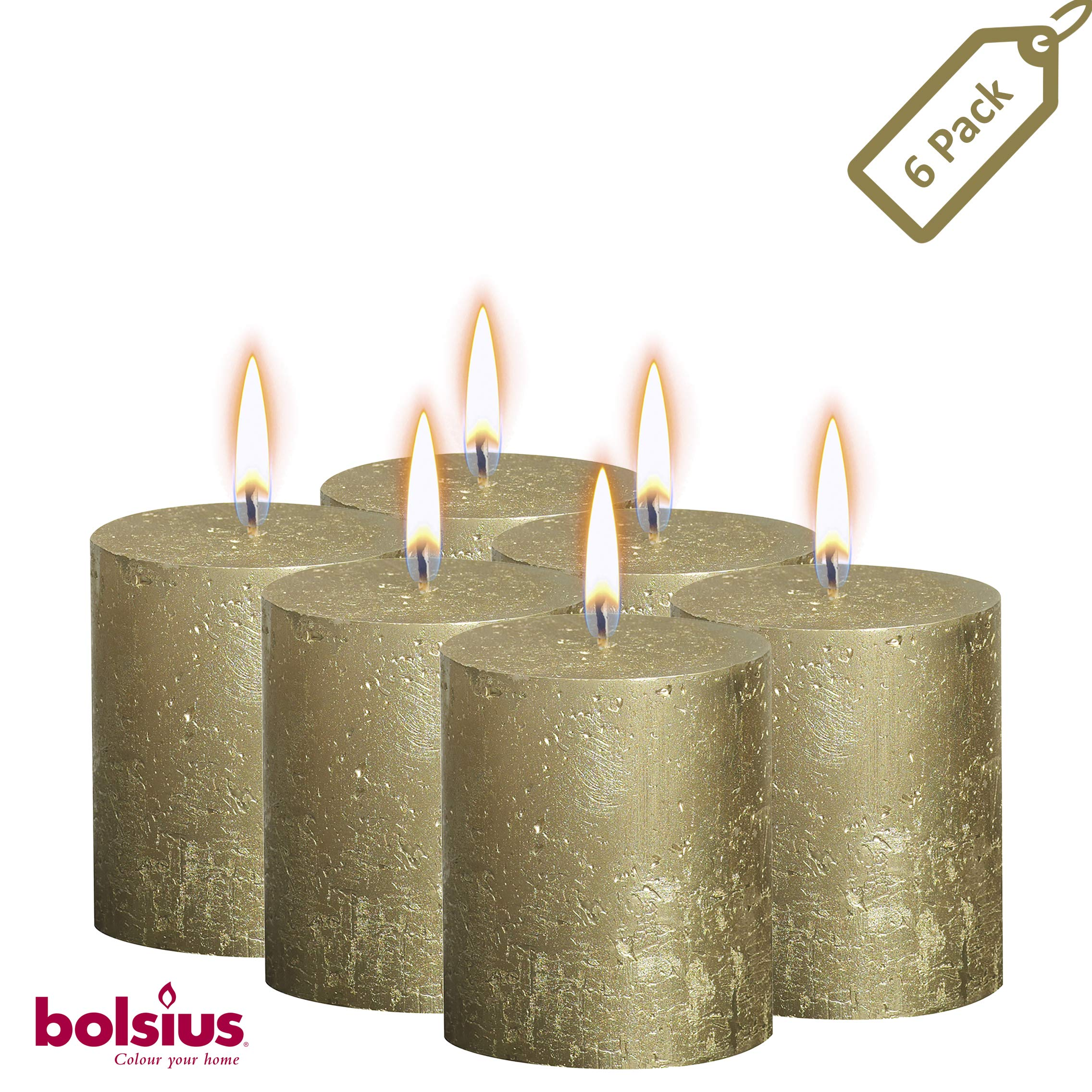 BOLSIUS Rustic Full Metallic Gold Candles – Set of 6 Unscented Pillar Candles – Gold Candles with a Full Metallic Coat – Slow Burning – Perfect Décor Candle – 80/68m 3.25X 2.75 Inches