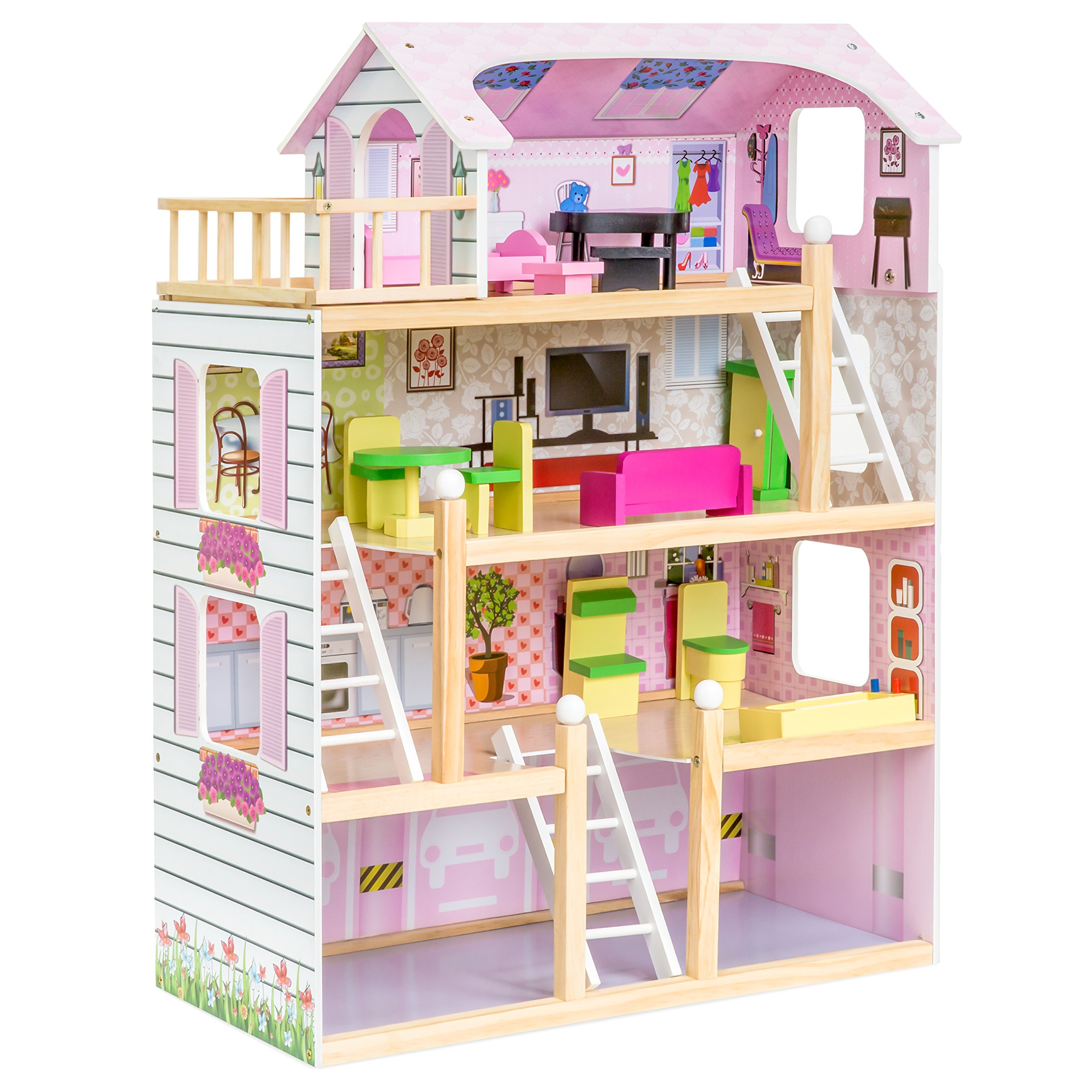 Best Choice Products 4-Level 32.25in Kids Wooden Cottage Uptown Dollhouse w/ 13 Pieces of Furniture, Play Accessories
