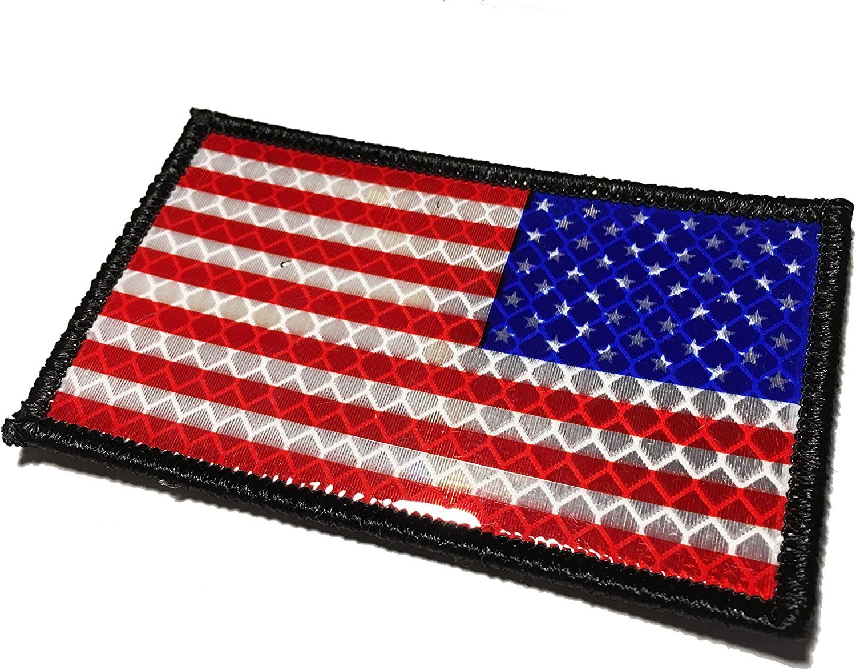 La inversión Ultra reflectante la bandera americana táctica uniforme parche (merrowed borde): Amazon.es: Juguetes y juegos