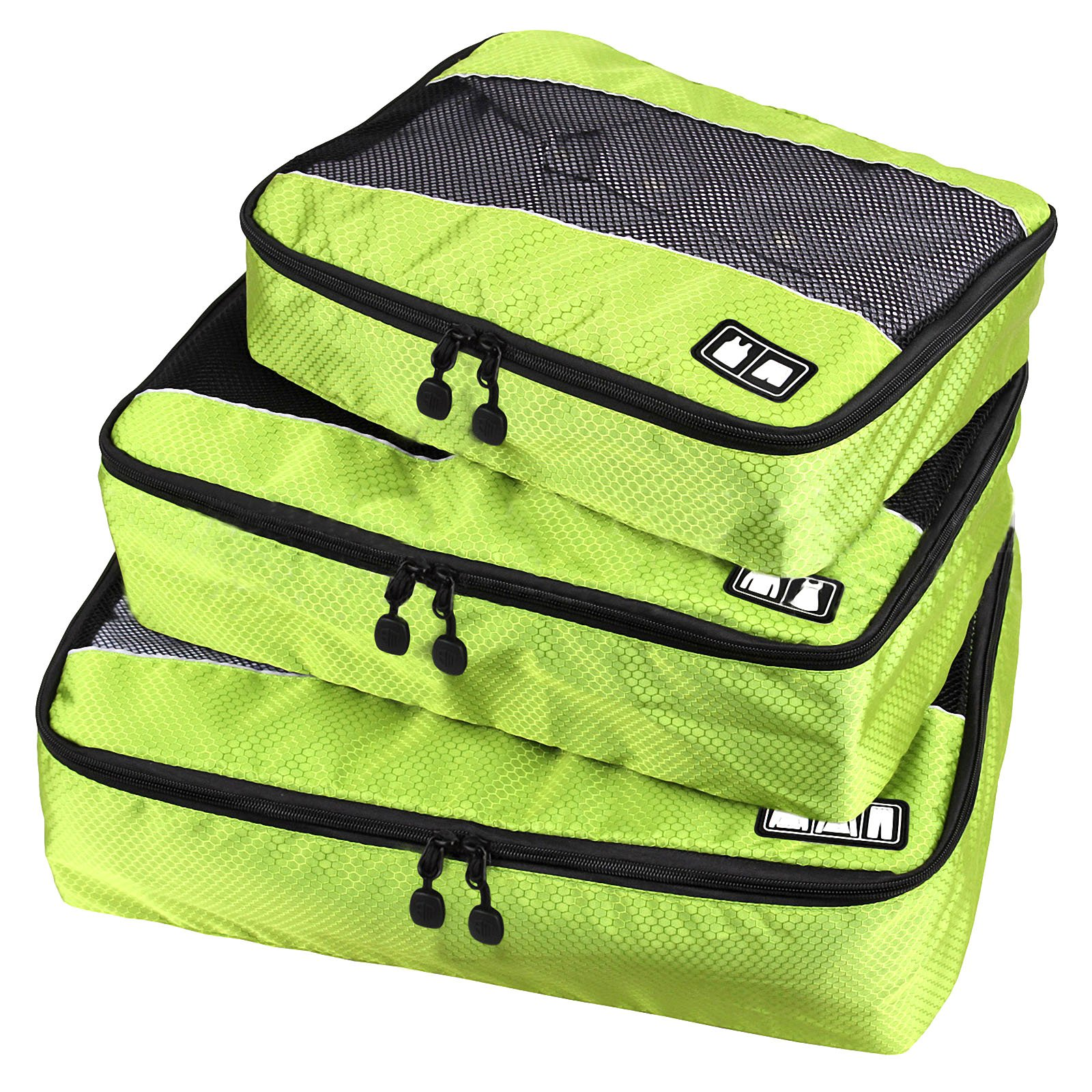 Travel Packing Organizers - Clothes Cubes Shoe Bags Laundry Pouches For Suitcase Luggage, Storage Organizer 3 Set Color Green