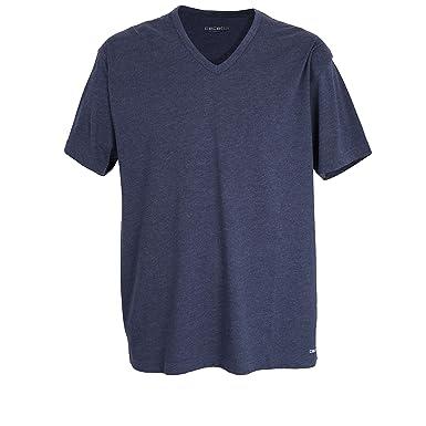 Kurzarm grau Polyester Baumwolle Ceceba Herren T-Shirt Melange Single Jersey