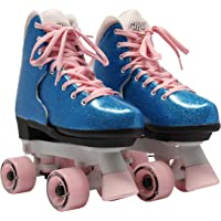 Circle Society Classic Adjustable Indoor and Outdoor Childrens Roller Skates - Bling Bubble Gum