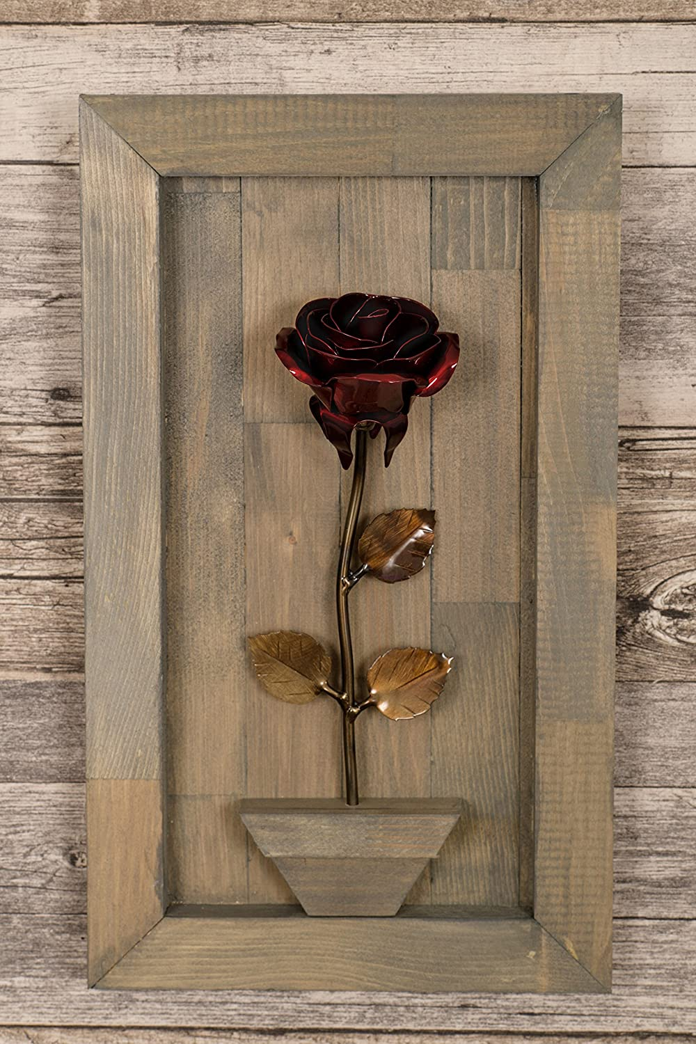 Hand Forged Wrought Iron Red Metal Rose with Wood Hanging