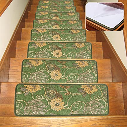 Soloom Indoor Carpet Stair Treads Non Slip Blended Jacquard Skid Resistant  Stair Treads Rugs Covers For