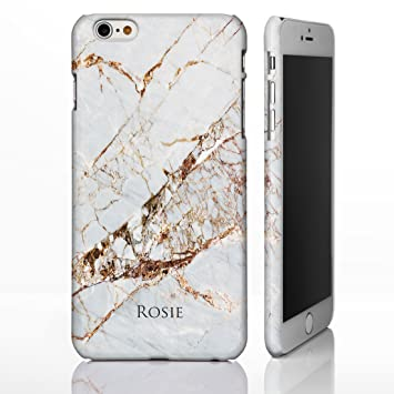 detailed look 209c1 c6445 Personalised Marble with Name or Initials. Natural Stone Gloss Plastic Case  for iPhone 6 / 6S - Marble 3: Natural Brown Marble