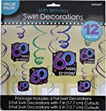 Amscan BB103390 The Party Continues 60Th Birthday Swirl Decorations - 12 pc