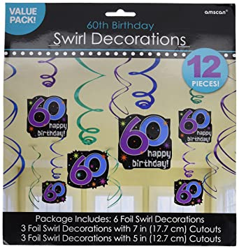 Amscan 674060 Hanging Swirl Ceiling 12ct Party Decorations One Size Multicolor